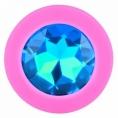 Розовая силиконовая пробка с голубым кристаллом S