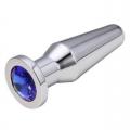 Конусная пробка с кристаллом Anal Plug Silver Blue L