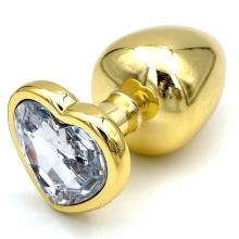 Золотая металлическая анальная пробка с прозрачным камушком в виде сердечка L