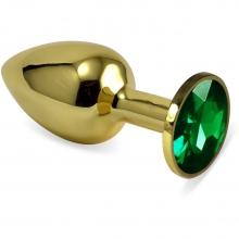 Анальное украшение со стразом Golden Plug Small изумруд