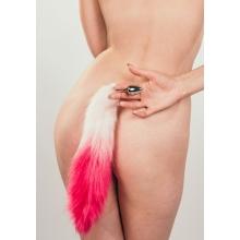 Анальная пробка с розовым хвостиком Diamond Galaxy Pink