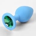 Голубая силиконовая пробка с зеленым стразом