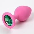 Розовая силиконовая пробка с зеленым стразом