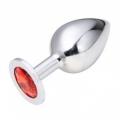 Большая анальная пробка Anal Jewelry Plug Silver Ruby L