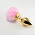 Анальная пробка с розовым хвостом Small Gold Plug