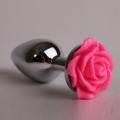 Металлическая анальная пробка с розовой розой M