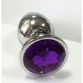 Анальная пробка из алюминия с кристаллом Violet L