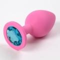 Розовая силиконовая пробка с голубым стразом