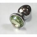 Анальная пробка из алюминия с кристаллом Silver Green L