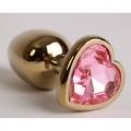 Золотая анальная пробка с розовым сердечком
