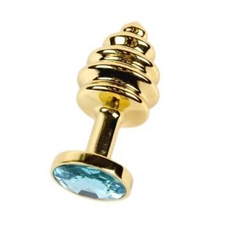 Анальная рельефная пробка Small Gold голубой