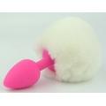 Силиконовая розовая анальная пробка с белым хвостиком