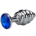 Анальная пробка Silver Small Plug рифленая синяя
