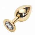 Большая золотистая пробка со стразом Gold Diamond L