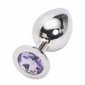 Стальная пробка Jewelry Plug Medium Silver нежно-фиолетовая