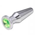 Конусная пробка с кристаллом Anal Plug Silver Lime L