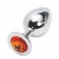 Большая анальная пробка Anal Jewelry Plug Silver Orange L