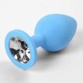 Голубая силиконовая пробка с прозрачным стразом