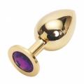 Большая золотистая пробка со стразом Gold Violet L