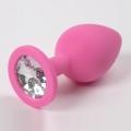 Розовая силиконовая пробка с прозрачным стразом