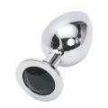 Большая анальная пробка Anal Jewelry Plug Silver Black L