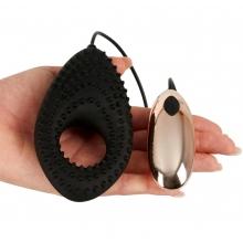 Эрекционное черное виброкольцо Couple's Cushion 3 в 1 с выносным пультом управления