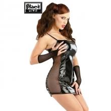 Черное лакированное мини-платье с сеточкой по бокам S