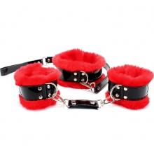 Набор фиксаторов (ошейник, поводок, оковы) из лакированной кожи с красным мехом