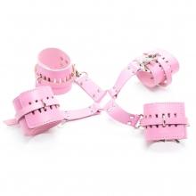 Бондажные наручники и поножи розовые