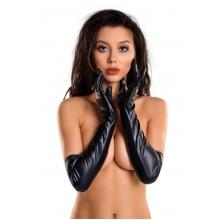 Черные перчатки Glossy из материала Wetlook выше локтя размер L