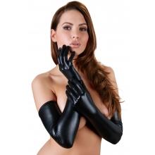Удлиненные черные перчатки WetLook