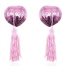 Розовые пэстисы для груди с пайетками