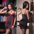 Черное платье со вставками под леопарда Red Leo S